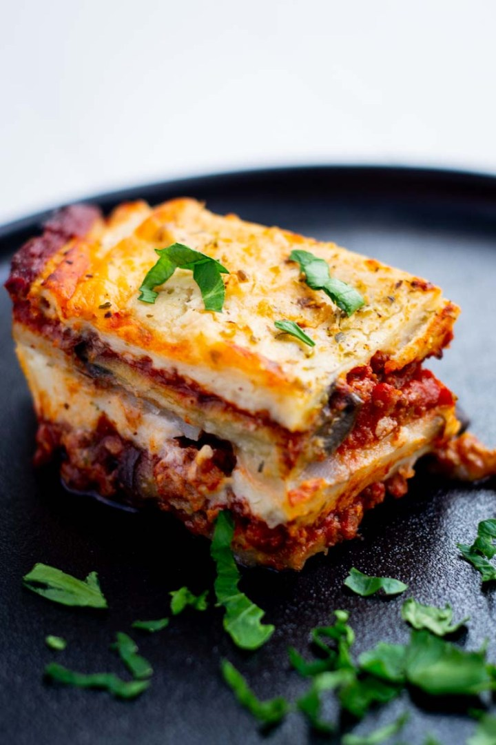 Moussaka dairy-free on plate