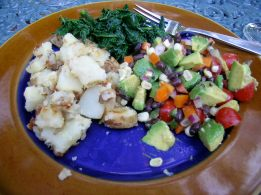 potatoes, kale with soy sauce, and my salad!