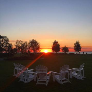 Sunrise on the lawn of Mission Point Resort