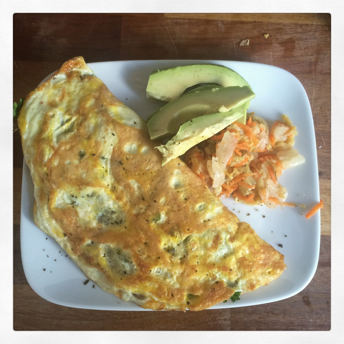My usual big ass omelette with avocado and kimchi.