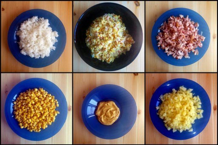 Salatka Z Wedzonym Kurczakiem Ryzem Ananasem I Kukurydza Vel