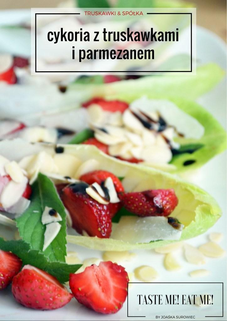 sałatka-cykoria-mięta-truskawki-parmezan