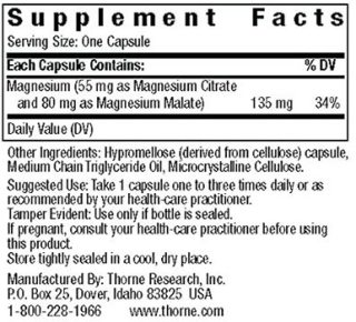 Supplement Facts of Thorne Magnesium Citramate