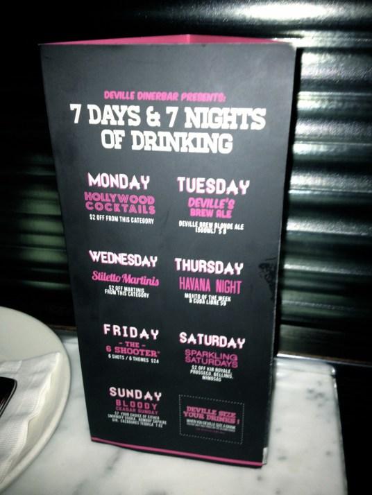 La carte des cocktails du Deville Dinerbar