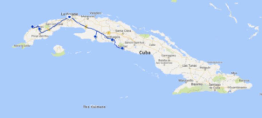 Map de mon parcours à Cuba