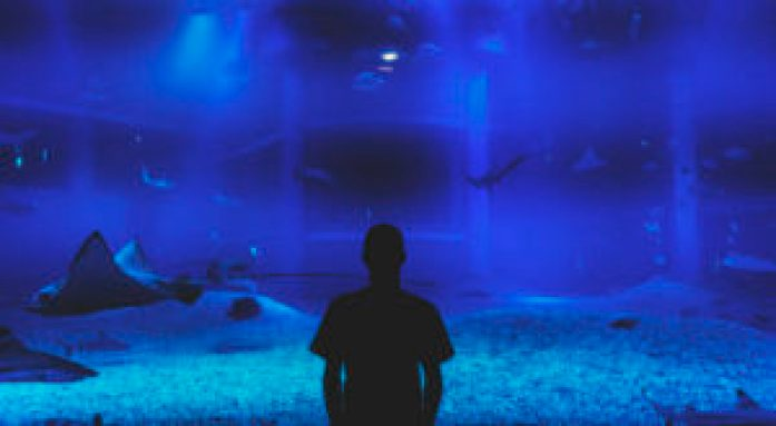 Eatmytravel face à l'aquarium d'Osaka