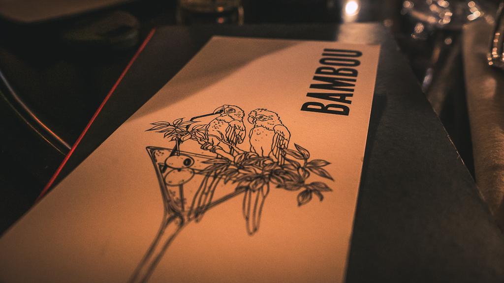 la carte du restaurant bambou