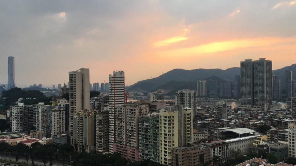 coucher de soleil sur Hong-Kong