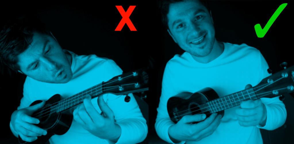 holding the ukulele correctly with blue