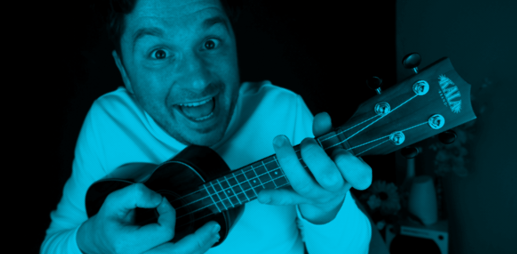 too excited with the ukulele