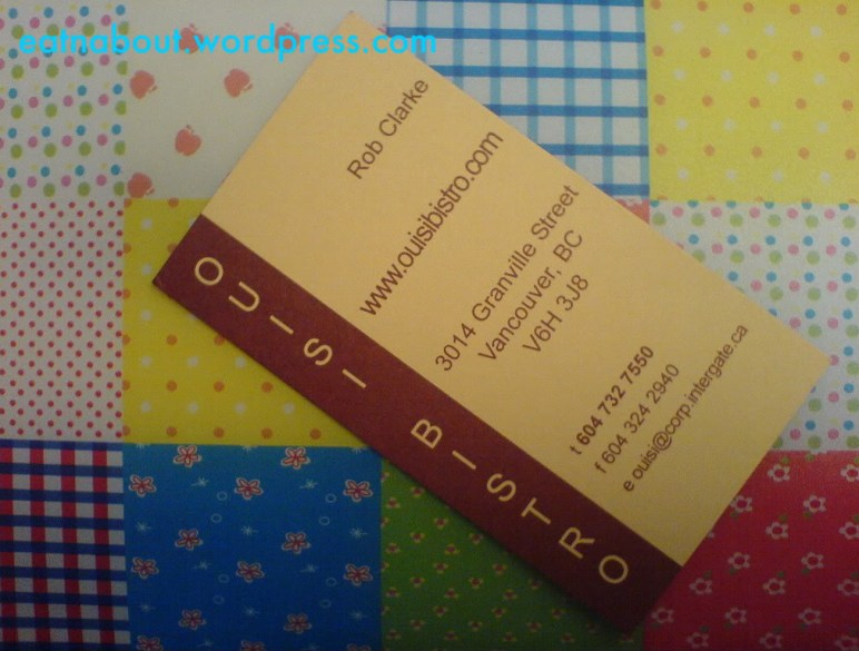 Ouisi Bistro business card