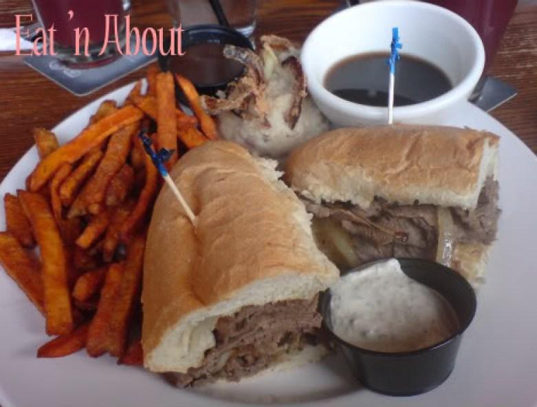 Original Joe's Beef Dip with Garlic Mashed Potatoes and Sweet Potatoe Fries