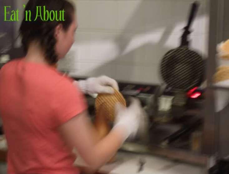 Timothy's Frozen Yogurt: making fresh waffle cones