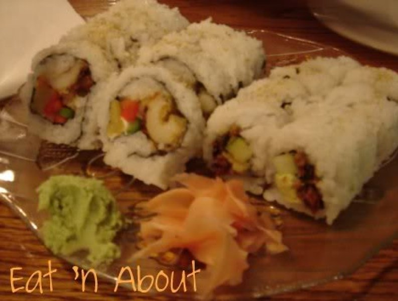 The Clubhouse Restaurant: Shrimp tempura cream cheese roll with Red peppers