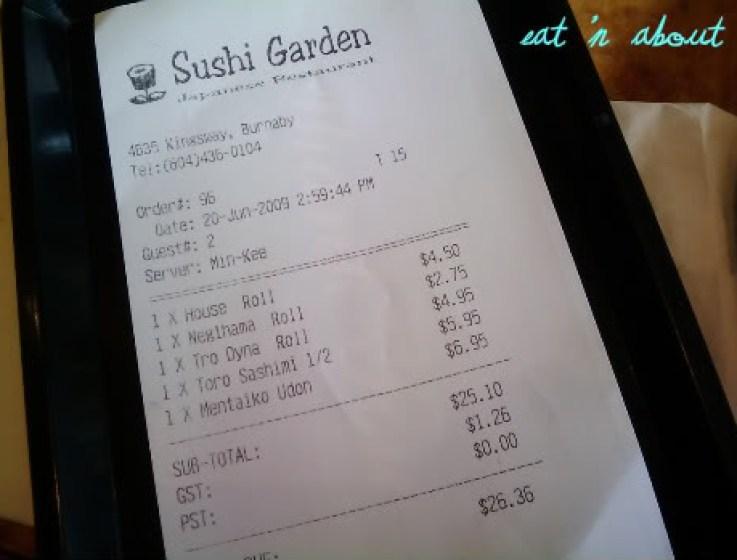 Sushi Garden: bill