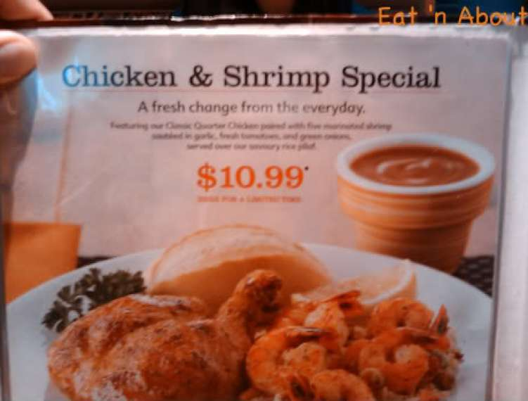 Swiss Chalet chicken and shrimp special