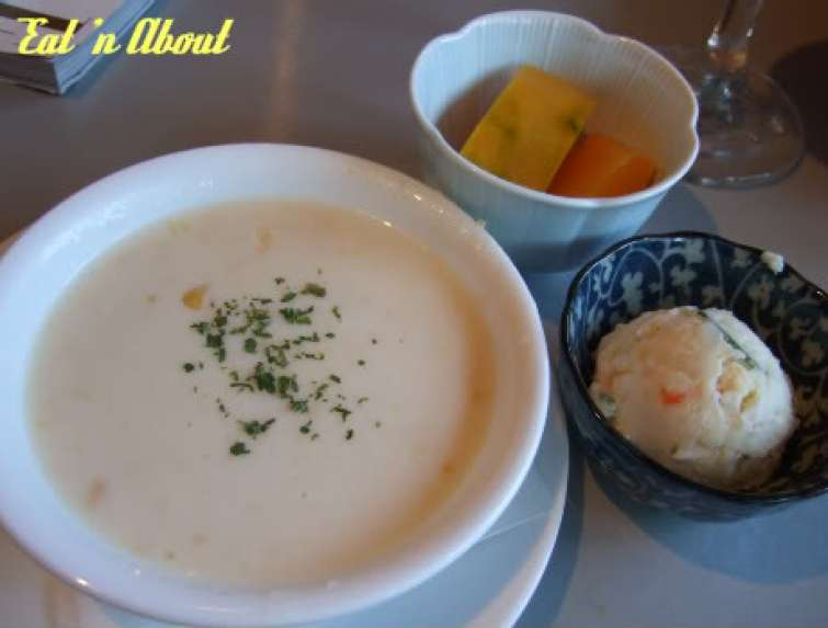 Barefoot Kitchen: corn soup, potato salad, and squash salad