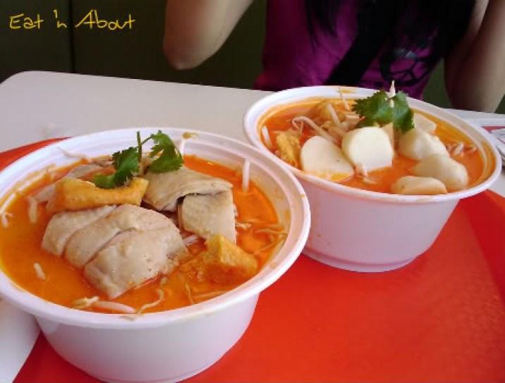 Cafe D'Lite Express: Hainanese Chicken on Laksa Noodles and Fishballs on Laksa Noodles