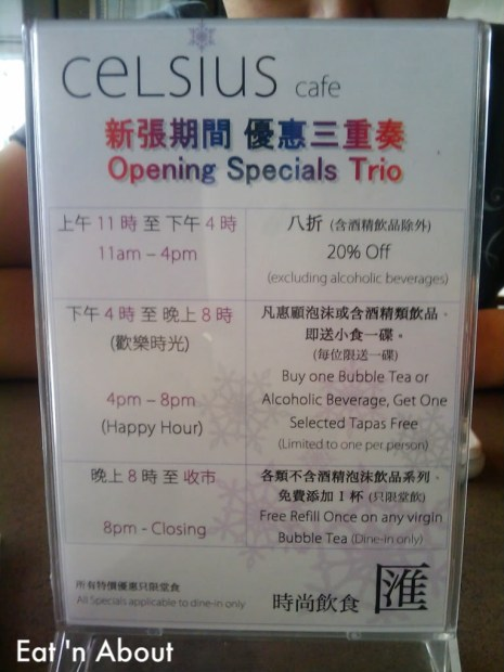 Celsius Cafe specials menu