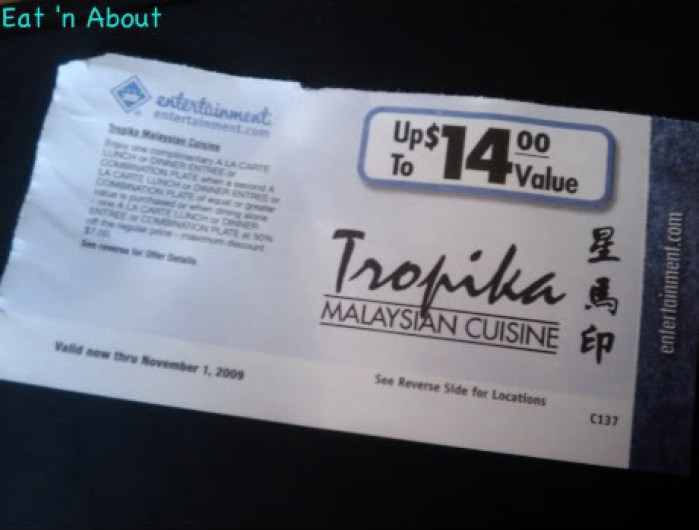 Entertainment Book Tropika Coupon