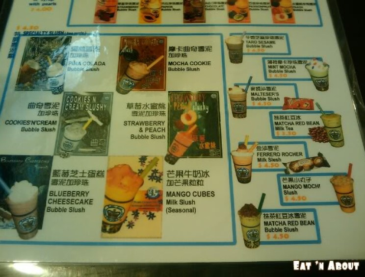 Bubble Queen menu