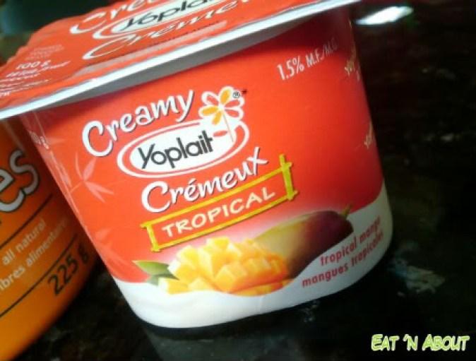 Creamy mango Yoplait yoghurt