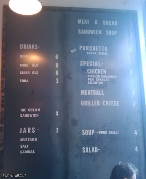 Meat and Bread Menu
