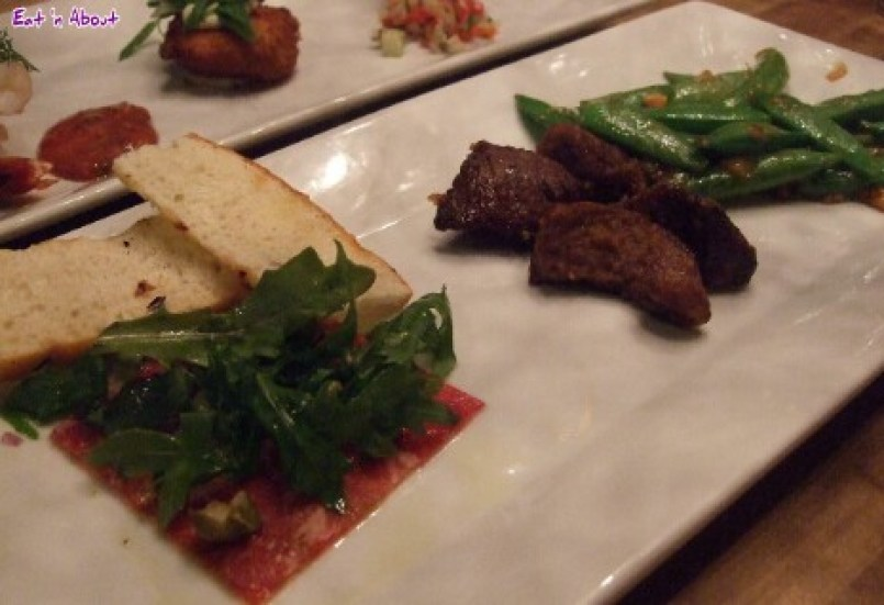 Chop Steakhouse: Steakhouse Trio - Steak Bites, Beef Tenderloin Carpaccio, Spicy Cashew Snap Peas
