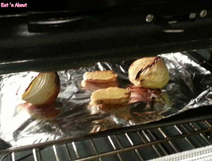 Charring onions and ginger