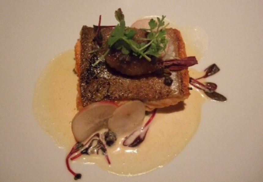 Raincity Grill: Lois Lake steelhead trout with braised-lentil and pork-belly ragu and shellfish nage
