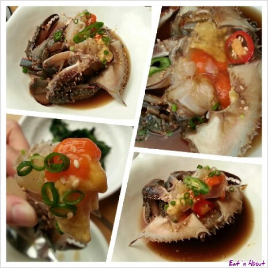 Doodaemon in Insadong, Korea: raw blue crab gaejang with roe