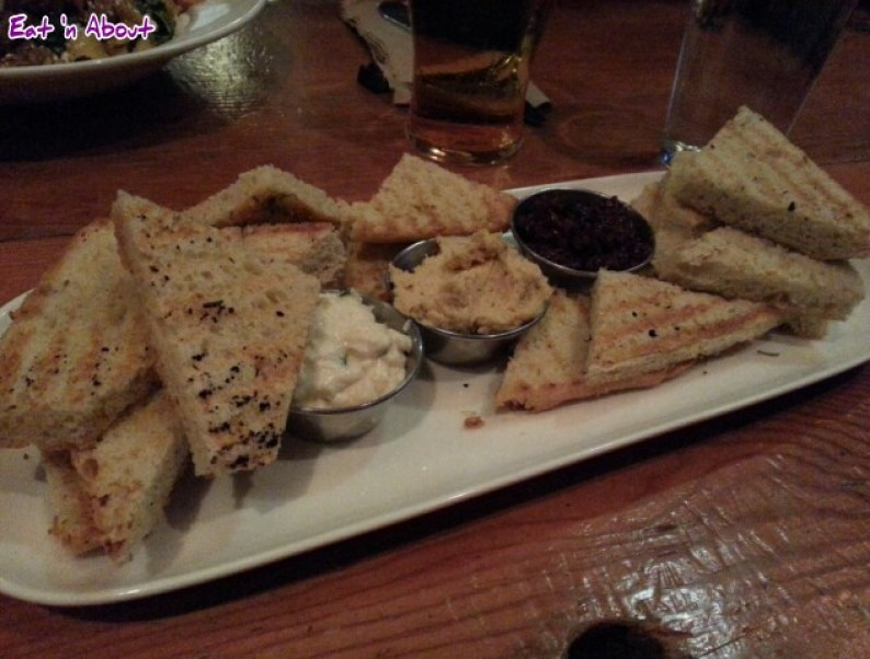 Irish Heather: Grilled flatbread and dips of raita, hummus and sun-dried olive tapenade