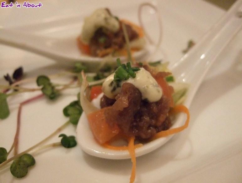 Locals Restaurant: Bison Tartare on Asian Salad Amuse Bouche