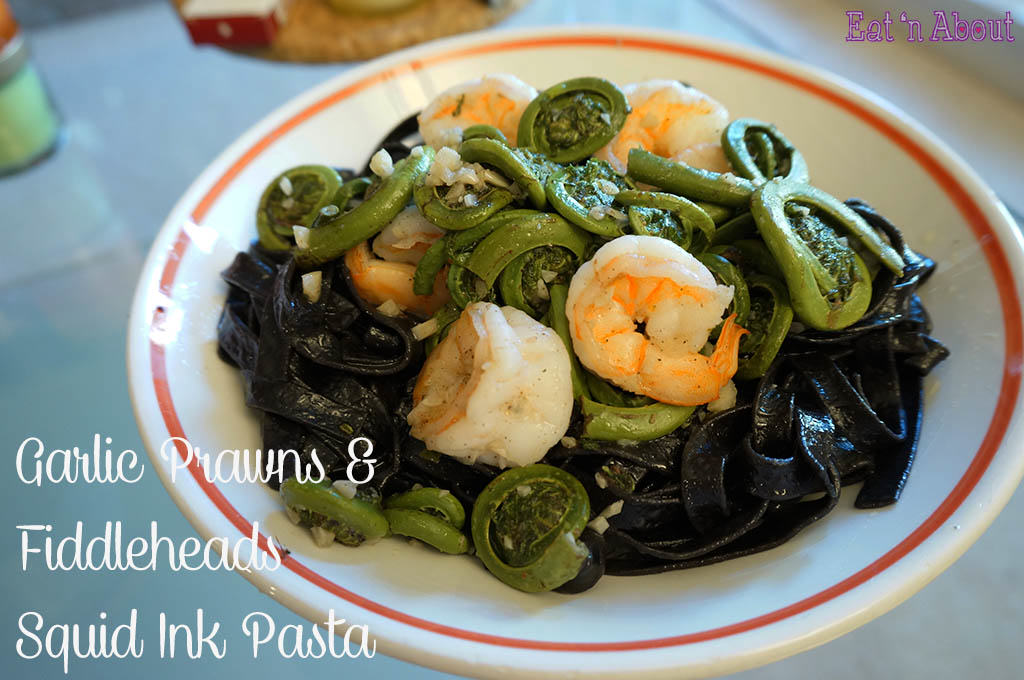 Garlic Prawns & Fiddleheads Squid Ink Pasta