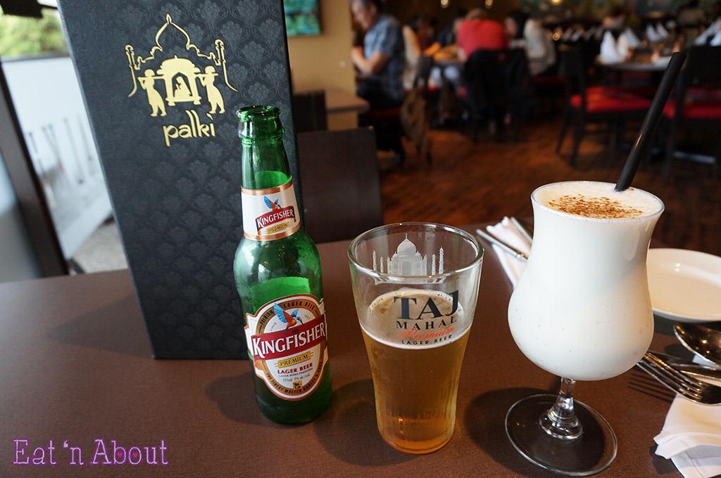 Palki Restaurant - Kingfisher beer and Salted Lassi