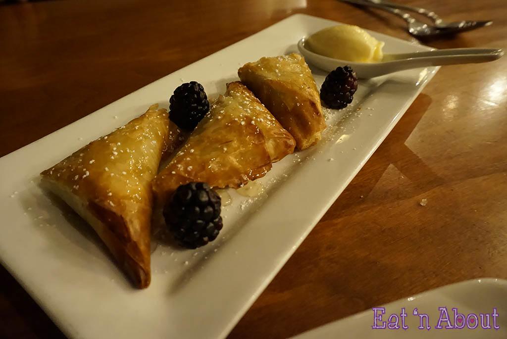 Shaughnessy Restaurant - Pistachio and Lemon Goat Cheese Filo Parcel