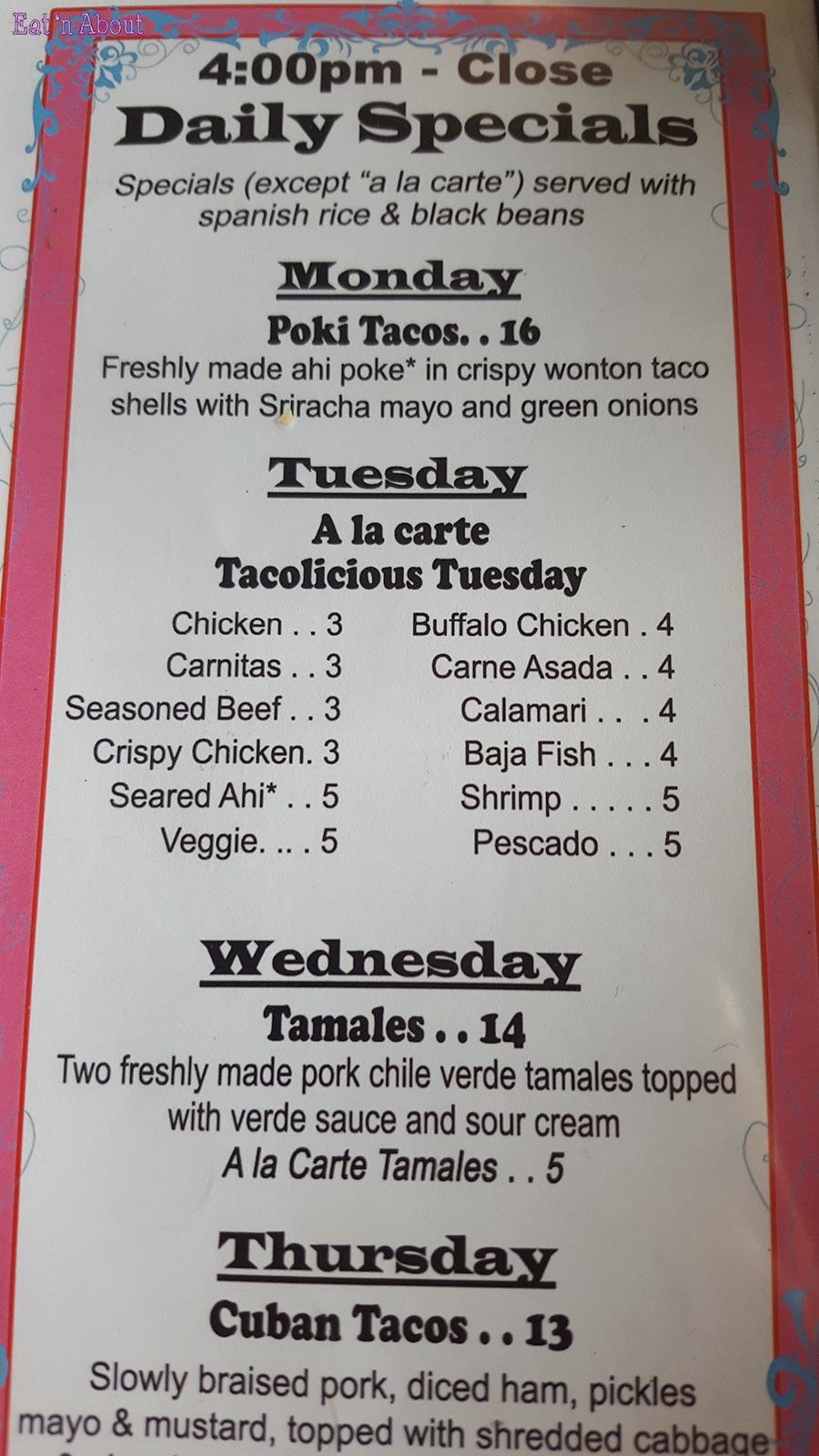 Fred's Mexican Cafe Maui - Daily Specials menu