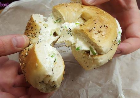 """Chelsea Bagel & Cafe - """"Everything"""" bagel with chives cream cheese"""