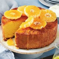 Sour cream and mandarin syrup cake