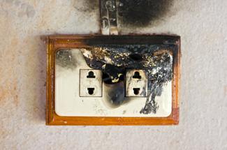 Burnt plug socket