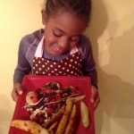 A Step Stool, an 8-Year old, her Vegan Meal and Her Paparazzo!