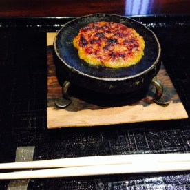 焼き味噌 Yaki-Miso was a plate of deliciously grilled sweet and salty miso, served on a black grill