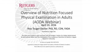 OVERVIEW OF NUTRITION FOCUSED PHYSICAL EXAMINATION (NFPE