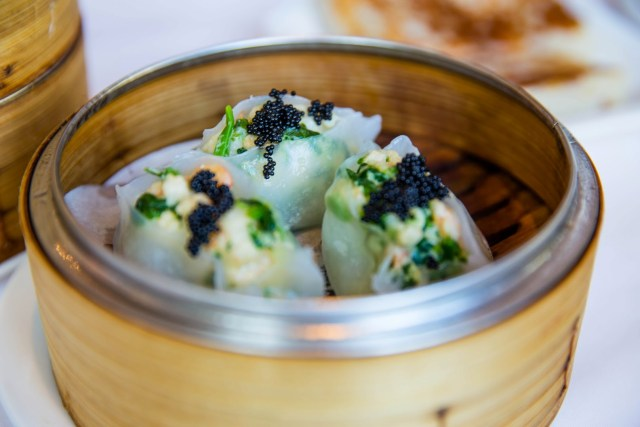 Steamed scallop and pea tip dumplings from Dynasty Seafood Restaurant. Photo credit: Stephen Tang.