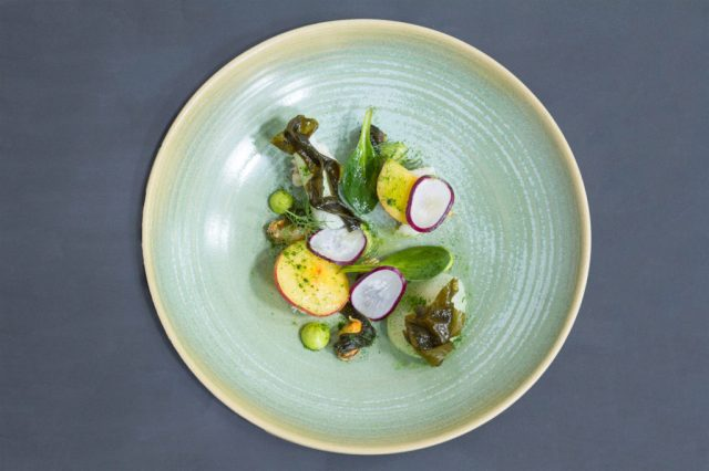 Crab with radish, seaweed, peach, and pickled mussels from Forest Avenue. Photo credit: Yolene Dabreteau.