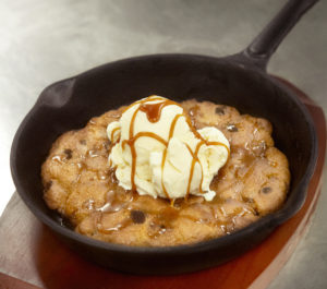 Deep dish chocolate chip cookie with vanilla ice cream and soy caramel sauce from Blue Dragon. Photo credit: Nina Gallant.