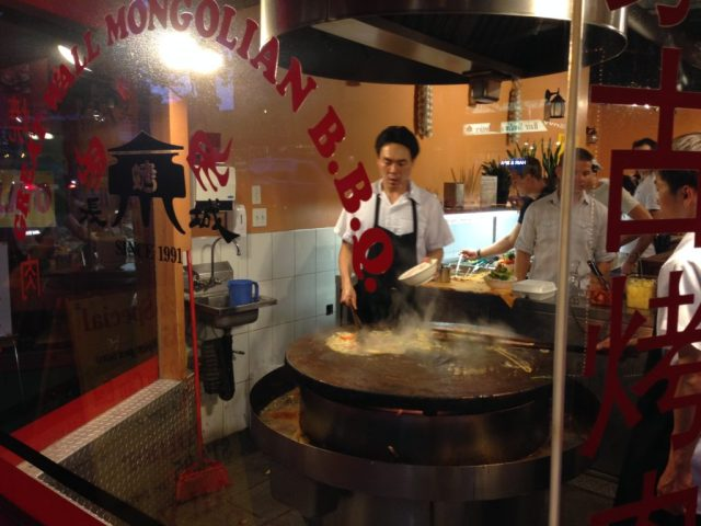 Preparing dinner at Great Wall Mongolian B.B.Q.