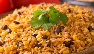 Spicy, warm, Mexican rice pilaf with black beans and corn.
