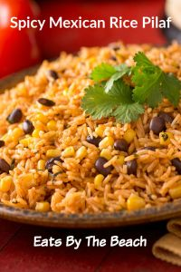 Spicy Mexican rice pilaf with black beans and corn