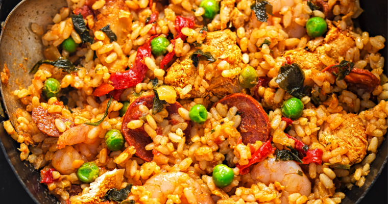 CHICKEN, CHORIZO, & SHRIMP PAELLA